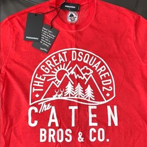 DSquared Red Caten Bro's T-Shirt